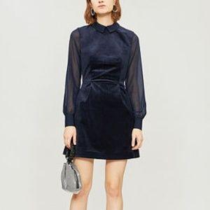 Ted Baker Lourah Velvet Sheer Long Sleeve Dress